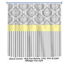 Yellow Damask Shower Curtain Damask And Stripe Grey And Yellow Shower Curtain Any Color