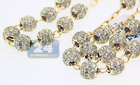 gold rosary 10k yellow gold 29 02 ct diamond mens rosary necklace