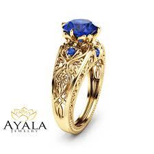 2 carat blue sapphire ring 14k yellow gold engagement ring art
