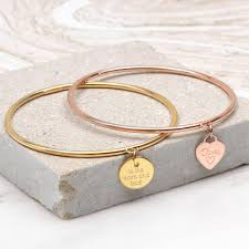 bangle charm bracelet gold images Gold personalised heart or disc charm bangle by hurleyburley jpg
