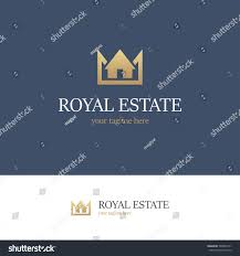 golden logo house crown on blue stock vector 528055141 shutterstock