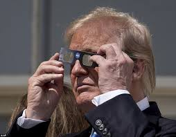 Does Looking At An Eclipse Blind You Trump Eclipse Viewing Sees President Peek Without Glasses Daily