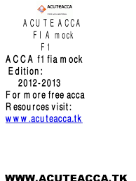 download acca f5 revision mock answers j12 docshare tips