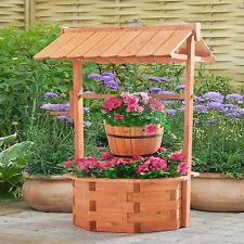 wishing well planter wooden lawn garden yard decor flower