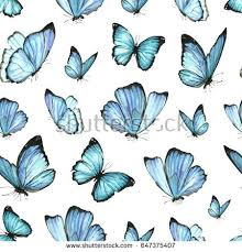 seamless pattern watercolor blue butterflies collection stock