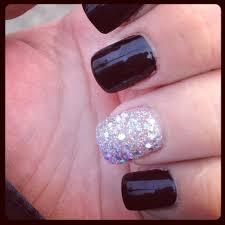opi black nail polish and silver glitter nails oh so pretty