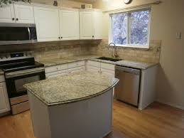 Granite Countertop  Knotty Alder Cabinet White Tile Backsplash - Granite tile backsplash ideas