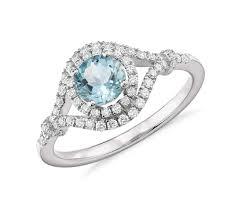 aquamarine diamond ring aquamarine and diamond halo ring in 14k white gold 5 5mm