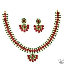 emerald ruby necklace images South indian design ruby emerald necklace with matching earrings jpg