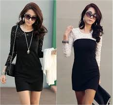free shipping womens black lace dress see through sleeve
