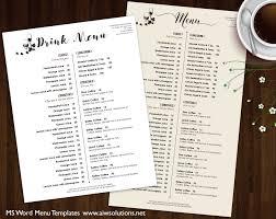 wedding drink menu template 28 images of template of food beverage menus infovia net