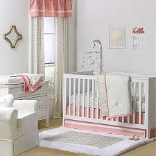 the peanut shell crib bedding collection in gold coral buybuy baby