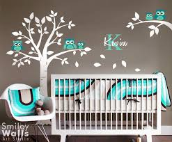 Baby Nursery Wall Decal Baby Nursery Decor Gray Theme Wall White Tree Many Blue Owl
