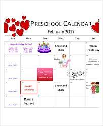 preschool calendar templates 9 free pdf format download free