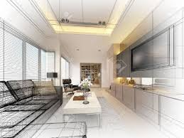 Interior Design And Decoration Sketch Design Of Living 3dwire Frame Render Stock Photo Picture