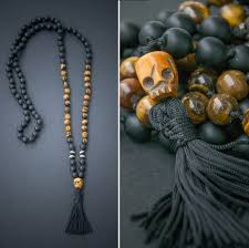 etsy beads necklace images Kali mala long necklace with a carved ox skull skull jpg