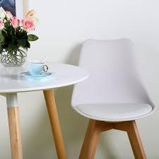 Esszimmerst Le Weiss Kunststoff 4er Set Esszimmerstühle Mit Massivholz Buche Bein Retro Design