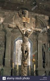 carving of jesus on the cross at the wieliczka salt mine located