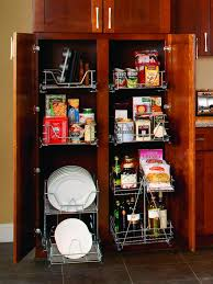 Kitchen Cabinets Organization Storage Brown Wooden Cabinet With Two Rows Combined With White Steel
