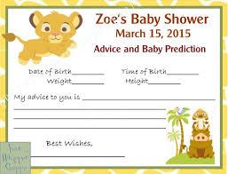 lion king baby shower lion king baby shower prediction advice cards digital file