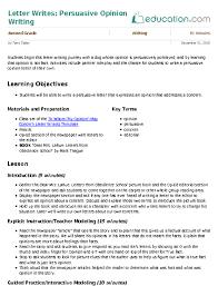 letter writes persuasive opinion writing lesson plan