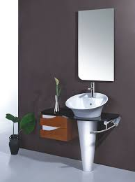 small wall mount bathroom sink dark khaki futuristic shower chrome