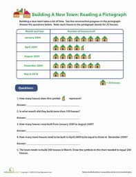 reading pictographs building a new town math worksheets 3rd