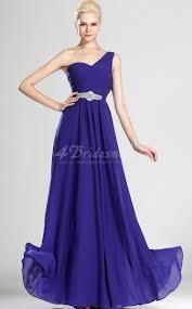 a line one shoulder long royal blue chiffon evening dresses bd497