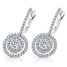 diamond drop earrings lds 18 karat white gold floating diamond halo drop