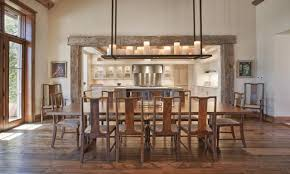 pottery barn dining room with rustic glass pendant lights 18