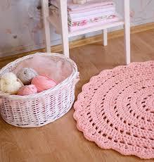 Pink Nursery Rugs Salmon Pink Crochet Rug Floor Mat Nursery Rug Baby By Meruhome