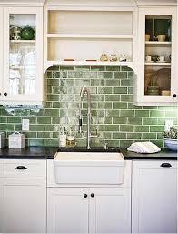 Green Subway Tile Backsplash In White Kitchen Ecofriendly - Subway tiles kitchen backsplash