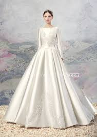 chapel wedding dresses us 239 99 a line bateau neckline sleeves satin chapel