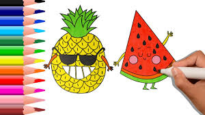 how to draw pineapple u0026 watermelon for baby coloring pages and