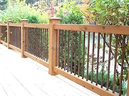iron a cedar deck railing metal decking spindle rail baluster