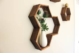 How To Decorate A Bookshelf Popsicle Stick Hexagon Shelf Easy Diy Wall Art
