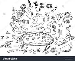digital illustration pizza ingredients black white stock vector