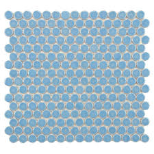 Duck Egg Blue Bathroom Tiles Merola Tile Hudson Penny Round Light Blue 12 In X 12 5 8 In X 5