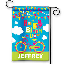 Decorative Garden Flags Happy Birthday Bicycle Personalized Party Banner Garden Flag