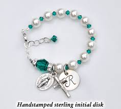 baby rosary bracelet personalized baby bracelet emerald green may birthstone