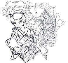 geisha tattoo u2013 uncolored n koi fish design tattooshunter com