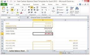 free cashier balance sheet template for excel 2013 inside end of