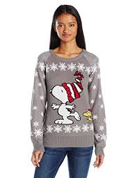 snoopy christmas sweatshirt peanuts women s skate snoopy christmas sweater grey m