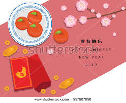 New Year Fruit Decorations by Illustration Vector Happy Chinese New Year Stock Vector 559024405