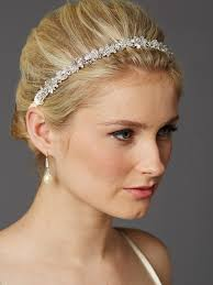 bridal headband slender bridal headband with wired clusters and ivory
