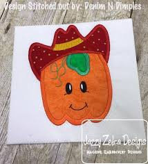 pumpkin boy wearing cowboy hat applique embroidery design