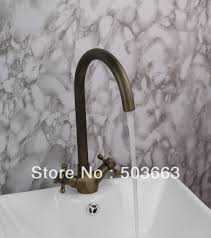 promotions tall 2 handle antique brass kitchen sink faucet vanity