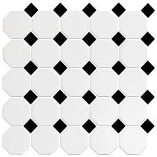 tile octagonal white black 12x12 mosaic white