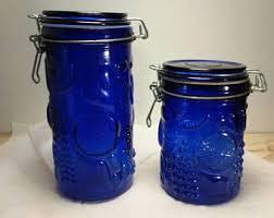 cobalt blue kitchen canisters cobalt blue canister etsy