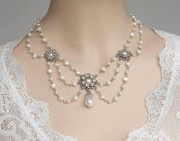 bridal jewelry bridal pearl necklace wedding jewelry rhinestone